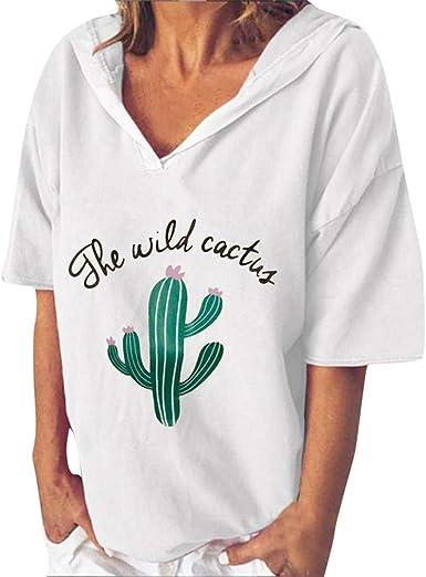 FELZ Moda Blusa de Manga Corta para Mujer Casual Sudadera con Cuello de Pico Estampado Cactus Verano Suelto Camisa con Capucha Verano Tops de Playa Basica tee: Amazon.es: Ropa y accesorios