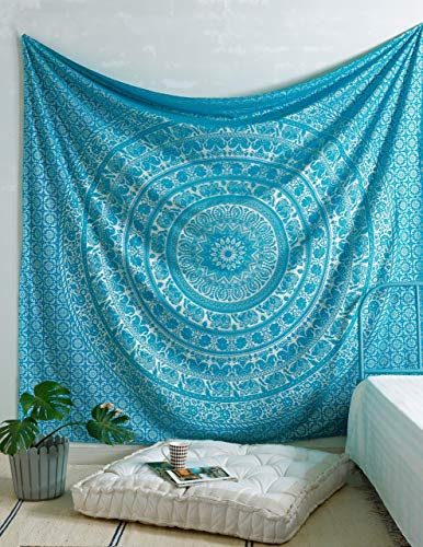- Popular Handicrafts New Launched Elephant Tapestry Mandala Tapestries Wall Art Hippie Wall Hanging Bohemian Bedspread with Metallic Shine Tapestries Tarquoise and Silver