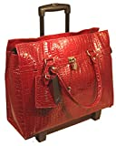 Bugatti Croco Embossed Rolling Briefcase Laptop - Women Red