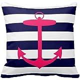 Damuyas Pink Anchor Silhouette Navy Blue White Stripes Cushion Cover Pillow Case Decor (anchor)