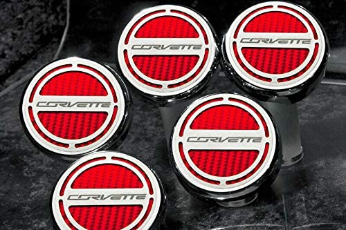 2014-2019 C7 Corvette Automatic 5pc Engine Cap Covers Red with Corvette Name Logo