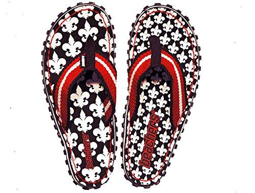 Beachers -Damen- Fleur de France - Zehentrenner / Sandale - schwarz / weiß / rot