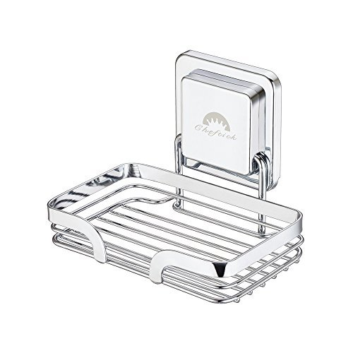 Large Product Image of Cheftick Strong Stainless Steel Soap Dish Holder Wall Mounted, Removable & Reusable, Soap Sponge Holder for Bathroom & Kitchen, No Nail No Drilling