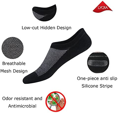 No Show Socks for Men 8 pack Cotton Thin Low Cut Non Slip for Loafer Flats Sneakers 6111215