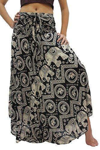 - Bangkokpants Women's Long Bohemian Hippie Skirt Boho Dresses Gypsy Clothes Elephant One Size (Black Chakra, One Size)
