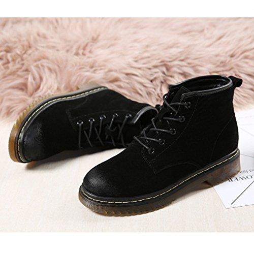 Inconnu Martin Bottes Femmes Bordure Plat Antidérapant Suédé Basse Boots Cheville Lacets Chaussures Classique Noir 36 xhMBpi8id
