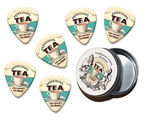 Refreshing Tea Break Martin Wiscombe 6 X Guitar Picks In Tin Vintage Retro (Refreshing Tea)