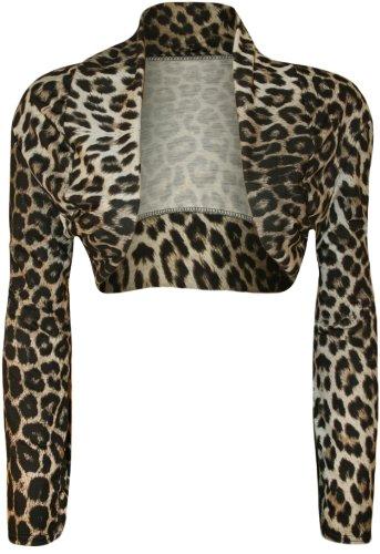 WearAll-Lopard-imprim-bolro-gilet-top-tondu-ouvert-avec-manches-longues-Lopard-36-38