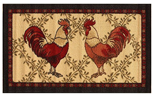 Kitchen Collection Rooster Beige Multi-Color Printed Slip Resistant Rubber Back Latex Contemporary Modern Runner Area Rug (9112) (18