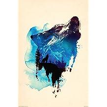 """Howling Wolf - Art Poster / Print (Art By Robert Farkas) (Size: 24"""" x 36"""") (Poster & Poster Strip Set)"""
