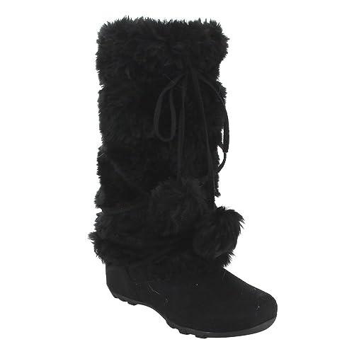 De Blossom Collection Women\u0027s Mid Calf Faux Fur Boots Color_Name