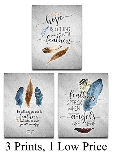 Hope Is A Thing With Feathers Prayer - 11x14 Unframed Typography Art Print - Great Home Decor and Great Inspirational Gift]()
