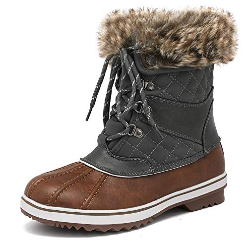 (DREAM PAIRS Women's River_2 Tan Khaki Mid Calf Winter Snow Boots Size 9 M US)