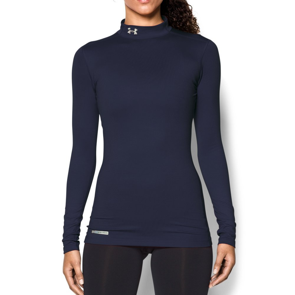 Under Armour Women's ColdGear Authentic Mock, Midnight Navy (410)/Metal, X-Small