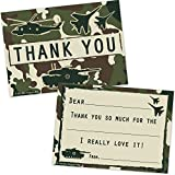 Military Camo Fill In Thank You Cards for Boys - Camouflage Soldier Fighter Jet Tank Helicopter Design (20 Count with Envelopes)