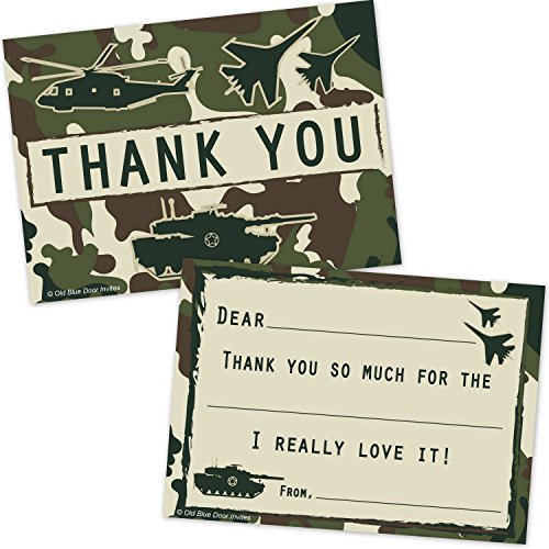 Old Blue Door Invites Military Camo Fill In Thank You Cards for Boys - Camouflage Soldier Fighter Jet Tank Helicopter Design (20 Count with Envelopes)