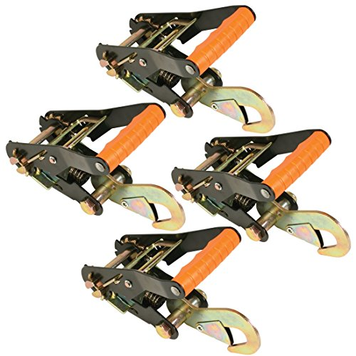 (Vulcan PROSeries 2'' Wide Handle Ratchet Buckle w/Snap Hook Ratchets - 3300 lbs. SWL (4-Pack))