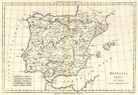 Hispania Vetus. Iberia Antigua. Lusitania. España y Portugal. Bonne 1789 - Mapa Antiguo Antiguo Vintage - Mapas Impresos de Iberia: Amazon.es: Hogar