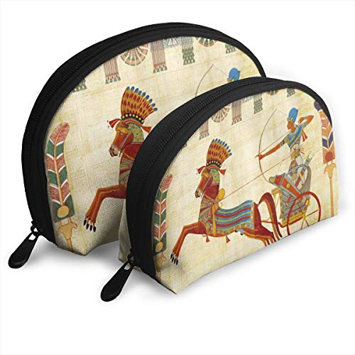 Fleavmei Egyptian Tutunkhamun Pharaoh Design Man Chariot 2 Pcs Shell Makeup Storage Cosmetic Bags Travel Waterproof Toiletry Organizer For Women