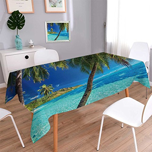 Beads Rectangle Turquoise African (Anmaseven Ocean Rectangle Dinner Picnic Table Cloth Image of a Tropical Island with Palm Trees and Clear Sea Beach Theme Print Decor Waterproof Table Cover for Kitchen Turquoise Blue Size: W70 x L104)