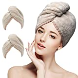 2 Pack Hair Towel Wrap Turban Microfiber Drying Bath Shower Head Towel with Buttons,Learja Quick Dry Super Absorbent for Long & Curly Hair(Khaki)