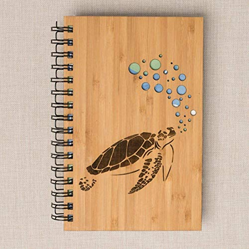 Sea Turtle Personalized Wood Journal - Bamboo, Alder, Birch - Bamboo Journal