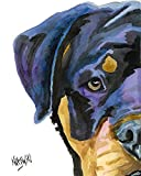 Rottweiler Dog Fine Art Print on 100% Cotton Watercolor Paper