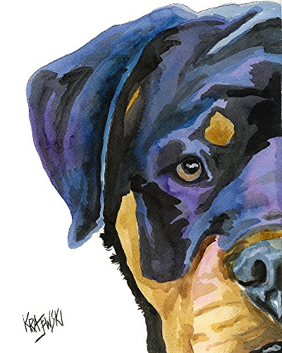 Rottweiler Dog Fine Art Print on 100% Cotton Watercolor ()