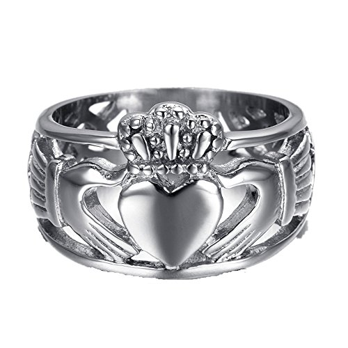 HAMANY Jewelry Men's Stainless Steel Claddagh Ring with Celtic Knot Eternity Design,Size 15