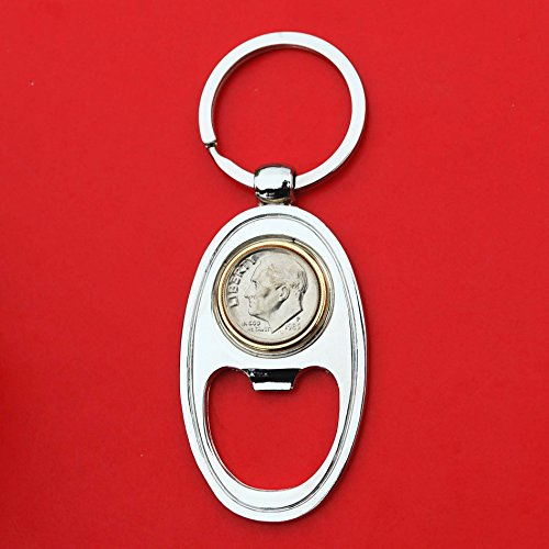 US 1985 Roosevelt Dime Gem BU Unc 10 Cent Coin Gold Silver Two Tone Key Chain Ring Bottle Opener NEW