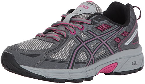 ASICS Women's Gel-Venture 6 Running-Shoes,Carbon/Black/Pink Peacock,8 D US
