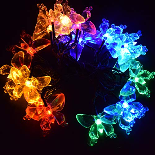 - M.best Waterproof 4.8M/16FT 20LEDs Solar Lamps Butterfly garland fairy Christmas Outdoor Garden Party solar led decoration light (Multi-color)