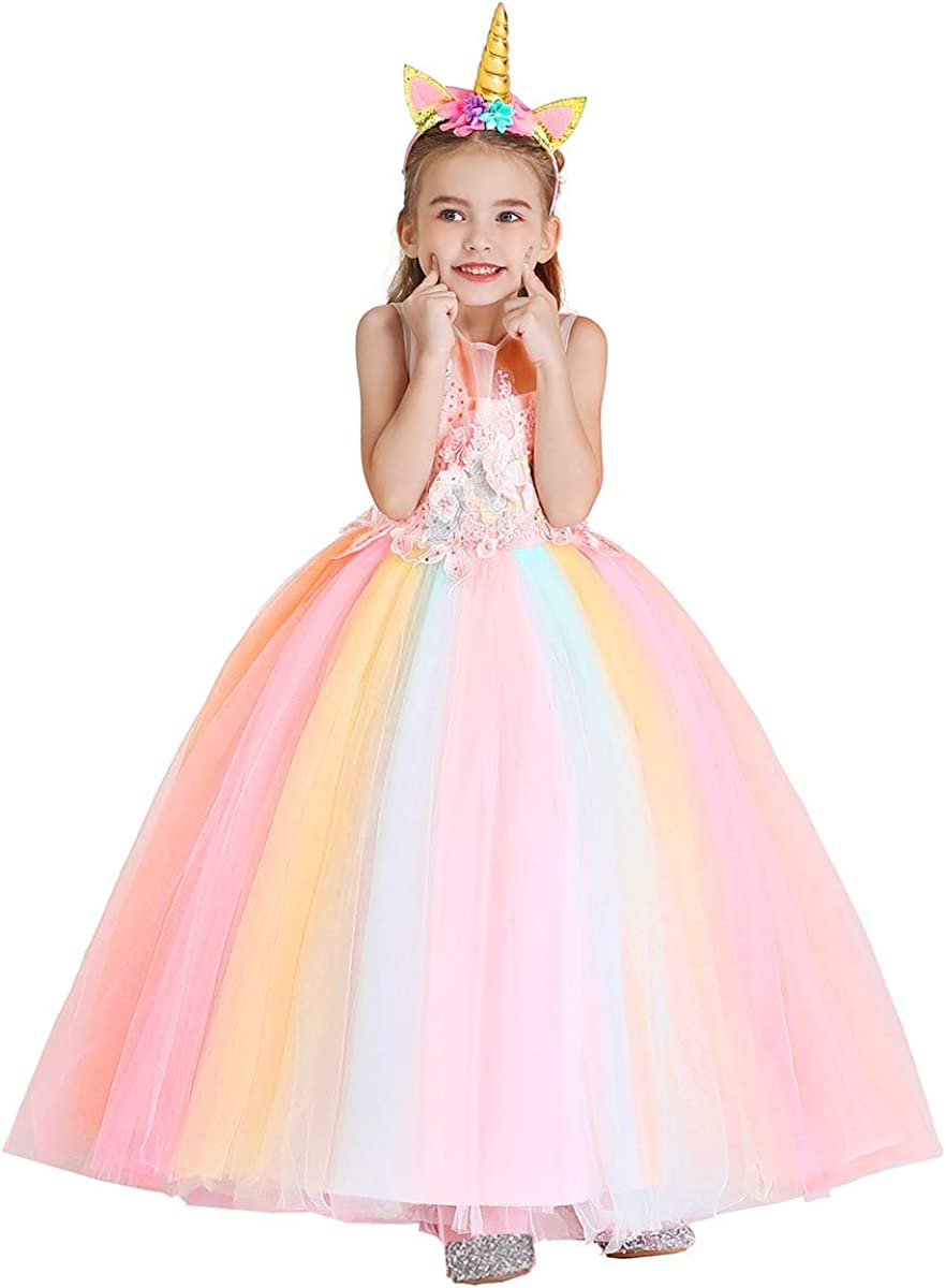 MYRISAM Unicorn Costume Princess Birthday Pageant Party Dance Performance Carnival Long Maxi Tulle Fancy Dress Up Outfits
