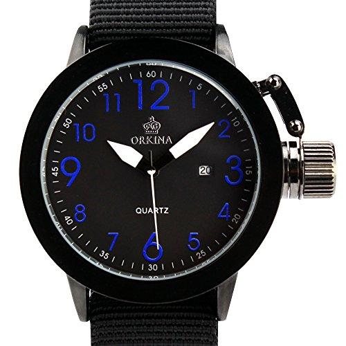 ORKINA Mens Large Dial cuarzo Fecha Día visualización azul Cartas Color Negro Nylon Banda Muñeca Reloj w010-nbr