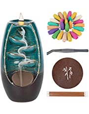 Incense Waterfall Burner Backflow Ceramic Incense Holder, Home Decor Aromatherapy Ornament with 120 Upgraded Backflow Incense Cones + 30 Incense Sticks + 1 Cushion + 1 Tweezer