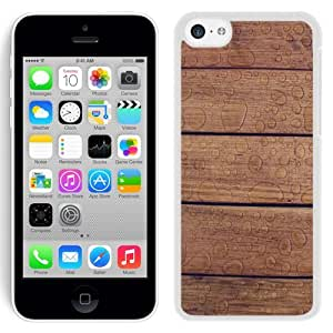 Personalized Phone Cover Wooden Floor Texture Water Drops iPhone 5C Wallpaper in White