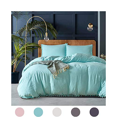 MOVE OVER 3 Pieces Turquoise Bedding Aqua Blue Duvet Cover Set Ball Fringe Pattern Design Soft Turquoise Blue Bedding Sets King 1 Duvet Cover 2 Ball Lace Pillow Shams (King, Turquoise)