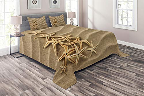 (Ambesonne Coastal Coverlet, Triangular Shaped Multiple Starfish on Sand Calmness Simplicity Sea, 3 Piece Decorative Quilted Bedspread Set with 2 Pillow Shams, Sand Camel)