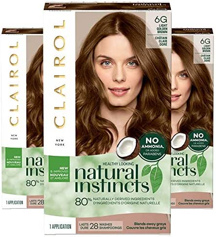Clairol Natural Instincts, 6G Light Golden Brown, Toasted Almond, 3 Count