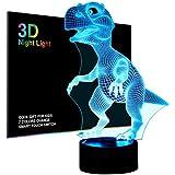 Dinosaures 3D Lampe Veilleuse optique Illusions, tiscen 7Changement de couleur acrylique toucher Tableau Lampe de bureau pour enfants Chambre Noël Cadeaux d'anniversaire