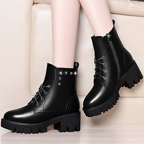 Arranca Algodón De De Invierno Estudiantes El Zapatos De Mujer Blizzard Nieve Terciopelo Zapatos Versión Marea De Zapatos Salvaje La De 6Cm Algodón Ma Moda Otoño Coreana AJUNR De 37 Los D Negro 38 De ZHqn5cZ