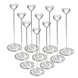 Jofefe 10pcs 8.6'' Tall Place Card Holders Table Number Stand Table Card Holders Table Picture Holder Wire Photo Holder with Heart Shape Menu Memo Clips for Wedding Favors, Silver