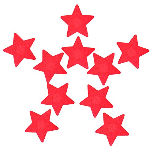 Ypser Multi Colors Nipple Cover Satin Pasties Disposable Adhesive Breast Petals(5 Pairs Star Red)