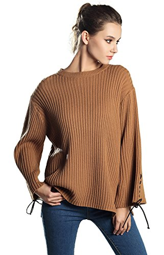 Chartou Women's Cute Flare Sleeve Lace Up Split Ribbed Knit Sweaters Jumper (One Size, Camel)