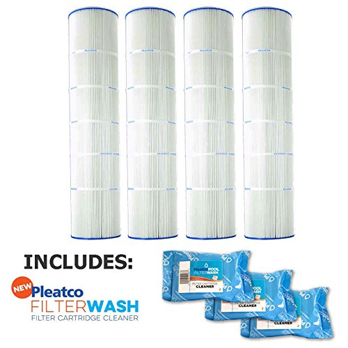 Pleatco Cartridge Filter PA126-PAK4 Hayward Super-Star-Clear C5000 SwimClear C5020 open w/molded gasket CX1260-RE w/ 3x Filter Washes by Pleatco