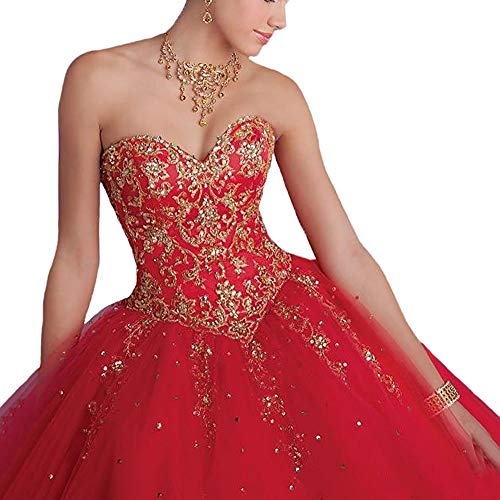 8b6d876de10 Quinceanera Dresses Tulle Sweet 16 Ball Gown Beaded Formal Prom Evening  Dress at Amazon Women s Clothing store