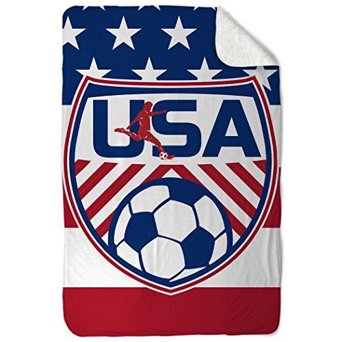 Fleece Soccer Blanket - ChalkTalkSPORTS Soccer Sherpa Fleece Blanket | USA Soccer