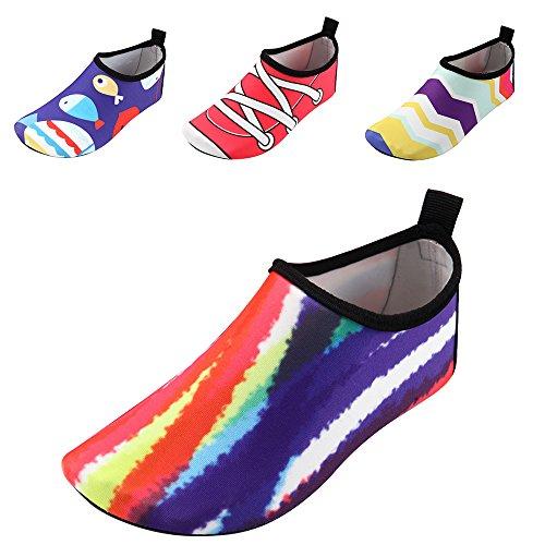 Image of JACKSHIBO Kids Water Shoes, Lightweight Skin Swim Shoes Quick Dry Barefoot Aqua Socks Shoes Beach Surf Yoga Exercise