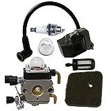 HIPA Carburetor + Ignition Coil + Spark Plug + Primer Bulb + Air Filter + Fuel Filter for STIHL FS38 FS55 FC55 FS45 FS46 KM55 HS45 String Trimmer Brush Cutter