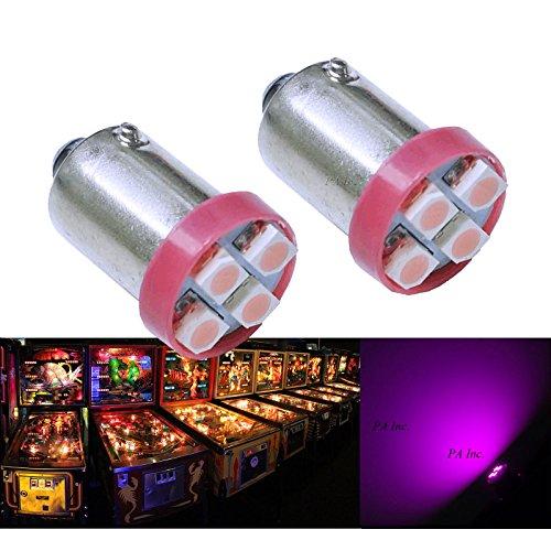 PA 10PCS #1893 #44 #47 #756 #1847 BA9S 4SMD LED Wedge Pinball Machine Light Bulb Pink-6.3V AC/DC